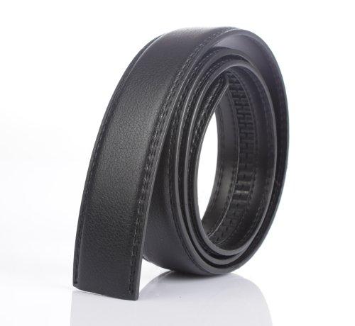 jiyijewelry (TM) Echt Leder Automatik Gurt Gürtel ohne Schnalle, schwarz, #24504-black