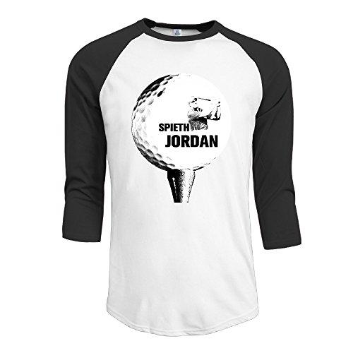 Candi Men's Golfer Spieth Image 3/4-Sleeve Raglan T-shirt Summer Casual Black Size L