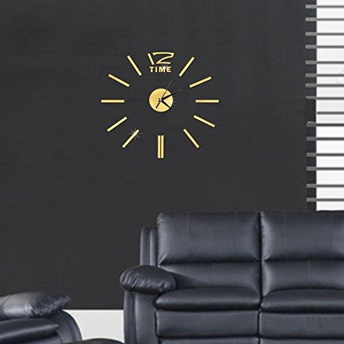 Ceanfly DIY 3D Wanduhr Modern Design Acryl Wanduhren Spiegel Metall  Rahmenlose Wandaufkleber Groß Uhren Style Raum Home Dekoration Fürs  Wohnzimmer ...