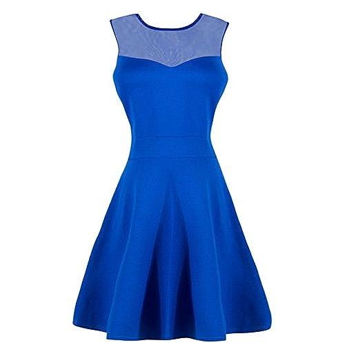Solatin Womens A Line Sleeveless Little Cocktail Dress Evening Wedding Party Blue XL