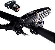 Intelligent LED Bike Light Set, Acsin Super Bright T6 LED IPX6 Waterproof USB Rechargeable 2200mAh Battery 360