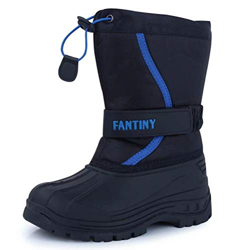 CIOR Fantiny Snow Boots Winter Outdoor Waterproof with Fur Lined for Girls & Boys (Toddler/Little Kid/Big Kid) U118WXZ010,BlackBlue,30
