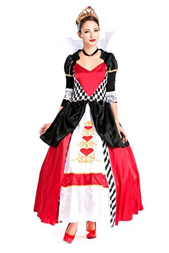 Women's Alice in Wonderland Costume Halloween Birthday Red Queen of Hearts Costumes -