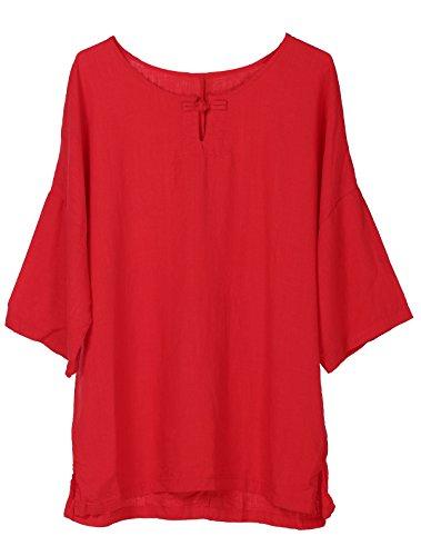 Shirt Donne Camicia Mallimoda Nuovo Fibbia Tunica Una Rosso Corta Manica T 7I7Sdqxp