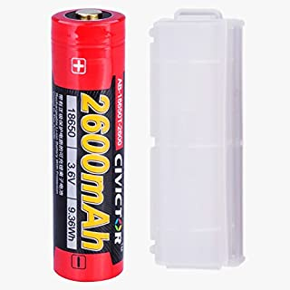 18650 Rechargeable Battery Protected Button Top 2600mah 3.7v 18650 battery li-ion 3.6v 3.7 Volt 18650 Lithium-ion battery Cell Single High Drain Flashlight Rechargeable Batteries 18650 lithium battery
