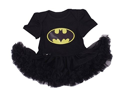 [Rush Dance Infant Baby Girl 1st First Birthday Celebration Tutu Romper Dress Set (Romper, Batman)] (Batman And Robin Tutu Costumes)