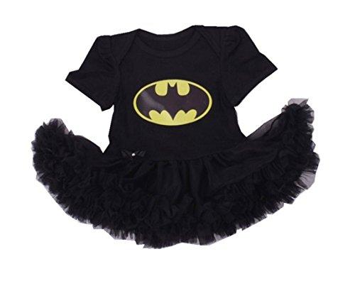 [Rush Dance Infant Baby Girl 1st First Birthday Celebration Tutu Romper Dress Set (Romper, Batman)] (Batman And Robin Movie Costumes)