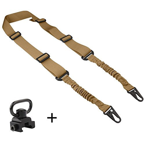 accmor 1 Pcs 2 Point Rifle Sling&1 Pcs QD Sling Swivel,Multi-Use Gun Sling with Length Adjuster for Hunting, Shooting