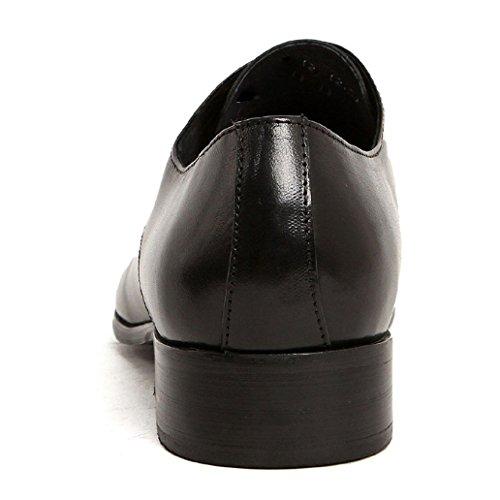 Zapatos Hombres Bajos Zapatos Oxford Zapatos Desgaste Plano De con Cuero Cordones Zapatos Moda De Punta Talón con Inglaterra Black Al Resistente Zapatos 5fdqdTw