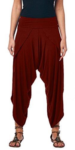 Popana Women's Casual Summer Boho Harem Jogger Pants Gaucho Culottes Made in USA X-Large Burgundy