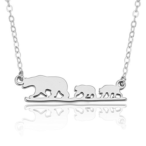 Stainless Bear Steel (SENFAI Stainless Steel Mama Bear and Her Children Necklace Three color 18