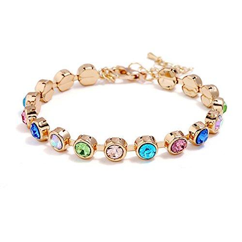 JczR.Y Vintage Fresh Rhinestone Circle Bracelet Women Gold Multicolor Bling CZ Crystal Bangle (COLORFUL)