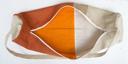 Yoga Matte Tasche–handgefertigt orange Jute Turnbeutel in Moderne Farbe Block Design–Yoga Tote–Yogamatte Sling Bag–Orange natürliches Elfenbein Jute Taschen Yoga-taschen–Yoga Rucksack–Yoga