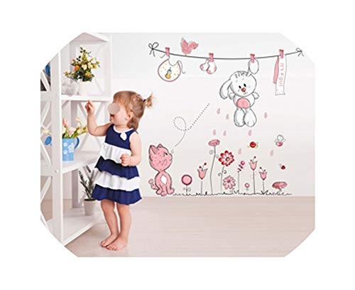 Memoirs- Pink Cartoon Cat Rabbit Flower Wall Sticker for Baby Girls Kids Rooms Home Decor Teddy Bear Umbrella Classroom Wall Decals,H18352 (Glow In The Dark Winnie The Pooh Teddy)