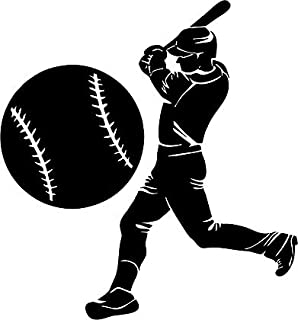 Large Silhouette Vinyl Baseball Wall Decals (Player and Ball) (Black)  sc 1 st  Amazon.com & Amazon.com: Sports Silhouette Wall Decals - Baseball Player Pitcher ...