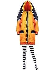 Yomoduki Runa Kostuum, Oranje Cosplay Jas met oren en sokken, schattig konijn Hoodie lange jas voor dames
