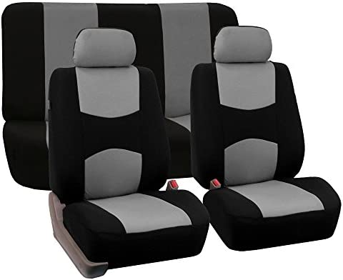 FH Group Flat Cloth Full Set Car Seat Covers (Gray) + Carpet Floor Mat with Heel Pad (Black) – Universal Fit for Cars Trucks & SUVs