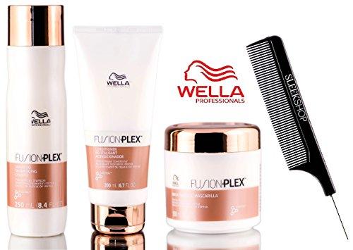 - Wella FUSION PLEX Intense Repair Shampoo, Conditioner, & Mask TRIO SET (with Sleek Steel Pin Tail Comb) (8.4 oz + 6.7 oz + 5 oz - TRIO Kit)