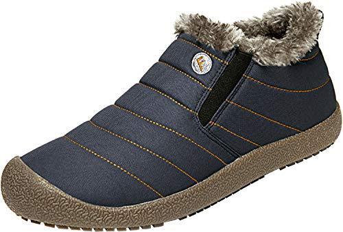 Blue Winter Shoes - Centipede Demon Mens Waterproof Walking Shoes with Fur Snow Boots for Women Blue Men 11 M
