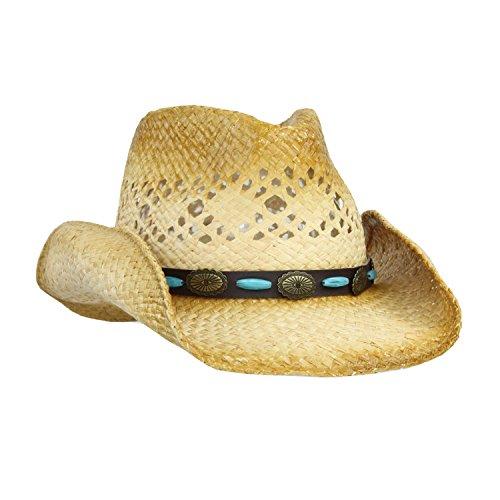 UPC 784672929028, Straw Cowboy Sun Hat w/ Shapeable Brim and Vegan Leather Bead, Concho Trim