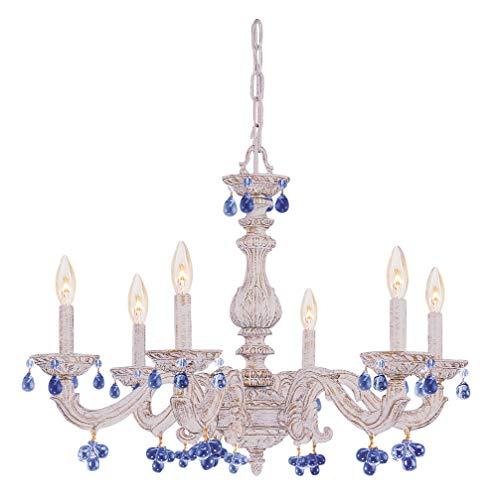 Six Chandelier Accents Light (Crystorama 5226-AW-BLUE Crystal Accents Six Light Chandelier from Paris Market collection in Whitefinish,)