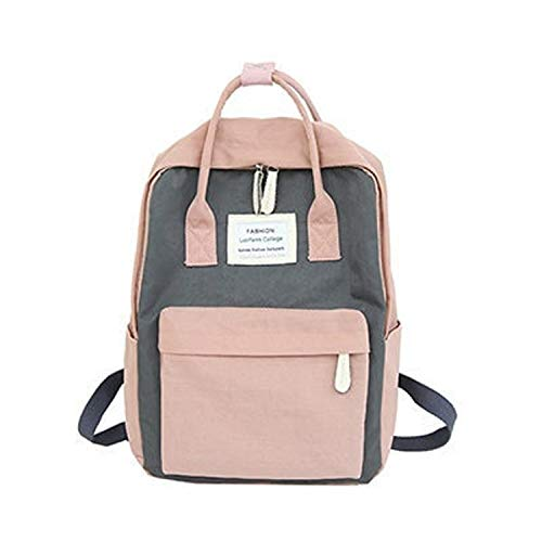 Price comparison product image Happy Mart Women Canvas Backpacks Candy Color Waterproof School Bags for Teenagers Girls Big Laptop Backpack Patchwork Kanken Backpack New (Pink)