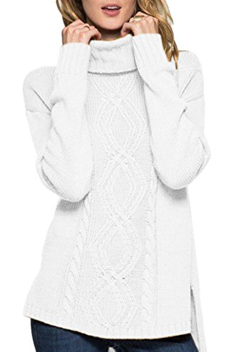 Sweater Cable Cashmere (Sovoyontee Women White Turtleneck Sweaters Small)