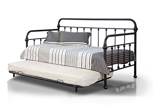 Alder Set Bed - HOMES: Inside + Out Alder Transitional Style Metal Daybed & Trundle Set, Dark Bronze