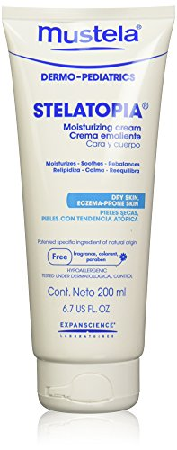 Mustela Stelatopia Emollient Cream, Daily Baby Cream for Extremely Dry to Eczema-Prone Skin, Fragrance Free, 6.76 Fl. Oz. (Cap Mustela Cradle)