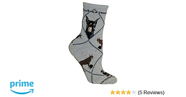 Doberman (Gray) Adult Cotton Puppy Dog Socks by WHD at Amazon Womens Clothing store: Casual Socks