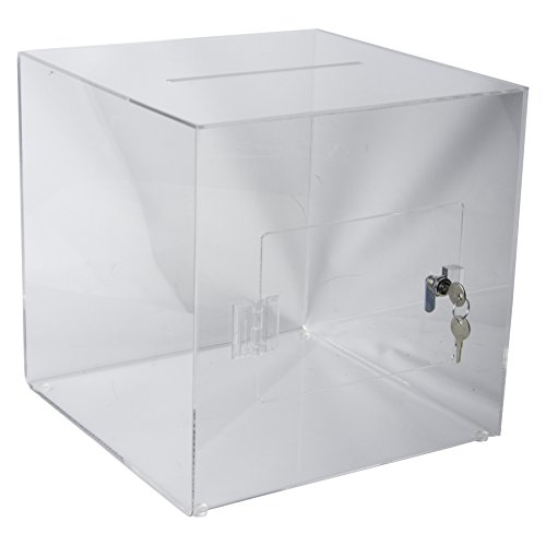 Clear-Ad - SBA-1111 - Acrylic Ballot Box with Lock - Plastic Container for Donation Voting, Charity, Survey, Raffle, Contest, Suggestions, Tips, Comments (11x11x11 (Plastic Suggestion Box)