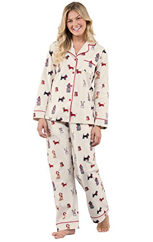 Dog Print Pajama - PajamaGram Christmas Dogs Flannel Women's Pajamas, Multicolored, Sml (4-6)