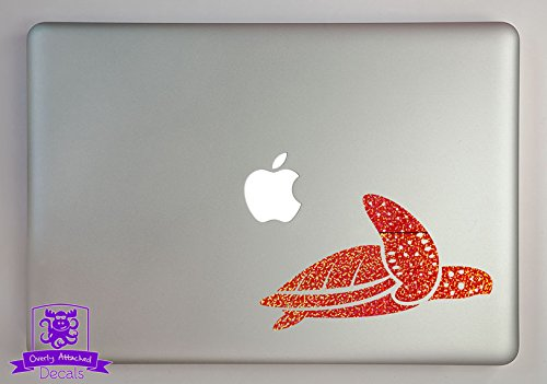 "Overly Attached Decals Swimming Sea Turtle Specialty Vinyl Decal Sized to Fit A 11"" Laptop - Orange Metal Flake"