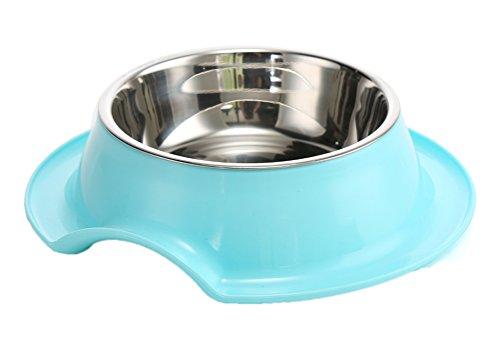 Freerun Pet Stainless Steel Plastic Bottom Dog Cat Pet Food Feeding Double Bowl (Random Color)