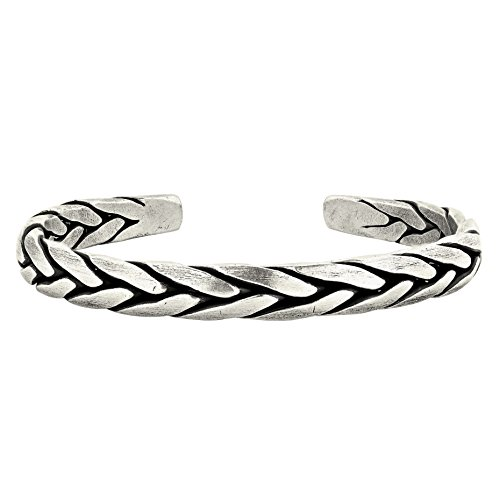 AeraVida Hand Braided Thai Karen Hill Tribe Fine Silver Cuff Bracelet