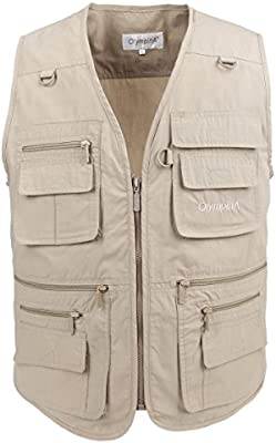 LUSI MADAM Mens Vest Poplin Outdoors Travel Sports Multi-Pockets Sleeveless Jacket