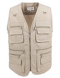 LUSI MADAM Men's Vest Poplin Outdoors Travel Sports Multi-Pockets Sleeveless Jacket