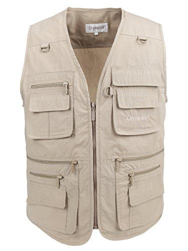 LUSI MADAM Men's Poplin Outdoors Travel Sports Pockets Vest US M/Asia 2XL Khaki