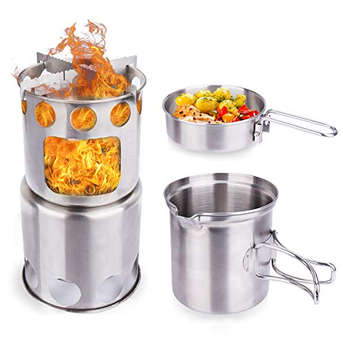 Freehawk Camping Stove Backpacking Stove Portable Stainless Steel Survival Stove Lightweight Wood Burning Stove Collapsible with Mesh Bag for Picnic BBQ Camping Hiking Traveling (Camping Stove Set)