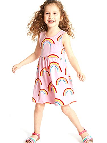 (Toddler Girl Summer Sleeveless Casua Cotton Rainbow Beach Twirly Tank Top Jersey Skirt Dress Pink)