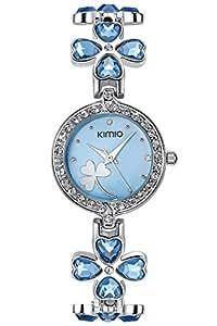 FLORAY Pulsera de moda para Mujeres , Hermoso Reloj de pulsera , Cristales Azules de la Flor