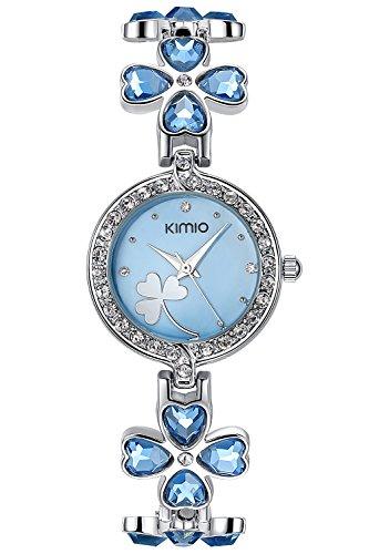 - INWET Elegant Quartz Watch for Women,Blue Cubic Zirconia,Lucky Clover Bracelet