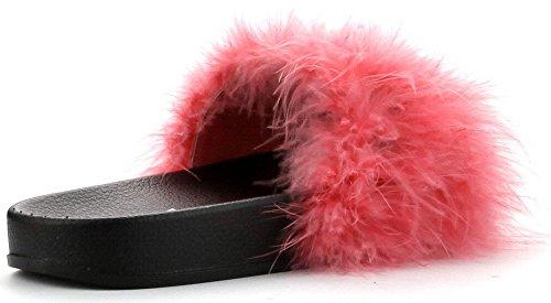 Cape Robbin Donna Open Toe Infradito Marabù In Pelliccia Slip Slip On Flats Sandali Scarpetta Pantofola Di Corallo