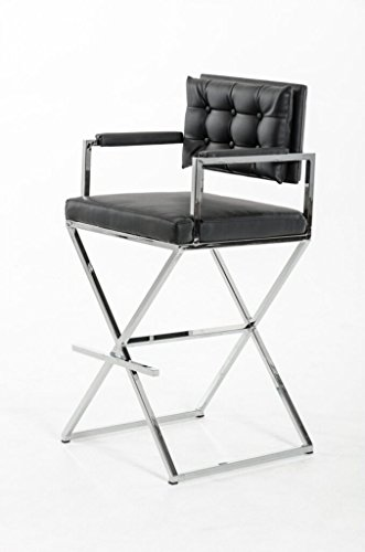 Limari Home The Caradoc Collection Directors Chair Style Leatherette Chrome Metal Frame Contemporary Industrial Barstool With Back and Arms, Black ()