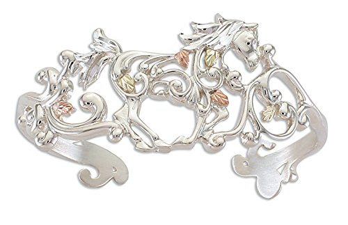 Scrollwork Horse Cuff Bracelet, Sterling Silver, 12k Green and Rose Gold Black Hills Gold Motif, 6.75'' by Black Hills Gold Jewelry