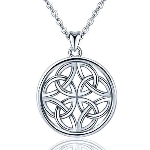 INFUSEU Irish Celtic Knot Pendant Necklace 925 Sterling Silver Jewelry for Women (Circle 4 Triangles)