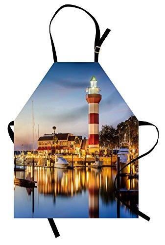 Ambesonne United States Apron, Hilton Head South Carolina Lighthouse Twilight Water Reflection Boats Idyllic, Unisex Kitchen Bib Apron with Adjustable Neck for Cooking Baking Gardening, Sea Blue