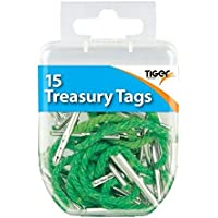 20 Tiger Assorted Treasury Tags Document Storage File Office School Paper Fasteners Tie Secure Store Hole Punched Craft