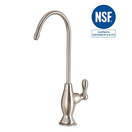 NSF 100% Lead Free Faucet Kitchen Sink Drinking RO Water Filter Filtration Reverse Osmosis Faucet Easy To Install ((Brushed Nickel)