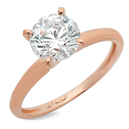 14k Rose Gold 0.47cttw Classic Round Solitaire Moissanite Engagement Promise Ring Statement Anniversary Bridal Wedding Size 4.25 ()